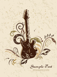 Texture With Floral Pattern Guitar