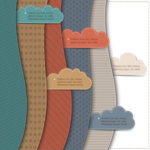 Textured Paper Banners With Clouds