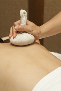Thai massage with herbal healthy