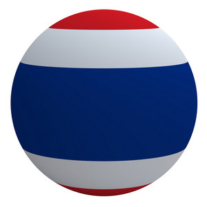 Thailand Flag On The Ball Isolated On White.