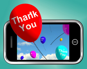 Thank You Balloons Message As Thanks Sent On Mobile