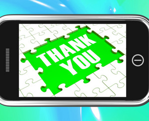 Thank You On Smartphone Shows Gratitude Texts And Appreciation