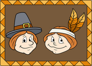 Thanksgiving Day Cartoon Character Faces