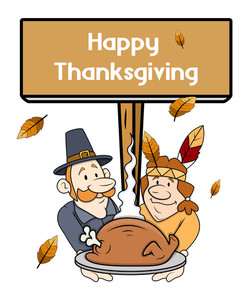 Thanksgiving Day Cartoon People With Banner Board