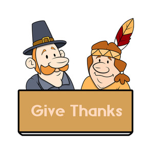 Thanksgiving Day Character Banner