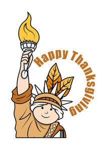 Thanksgiving Day Statue Of Liberty Character Vector