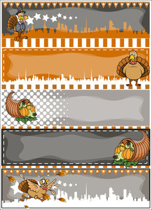 Thanksgiving Day Vector Banners Set