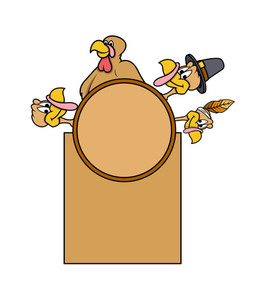 Thanksgiving Day Vector Turkey Banner