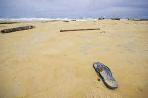 the beach with one flip flop