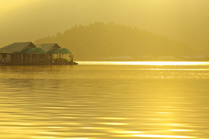 The floating Hut in dam lake Chiang Mai, Thailand