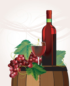 The Glass Of Red Wine, Bottle, Old Barrel And Grape. Vector.