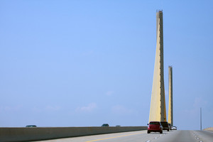 The golden cable-stayed William V Roth Jr bridge found in the state of Delaware USA.