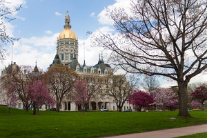 The golden-domed capitol building in Hartford Connecticut.