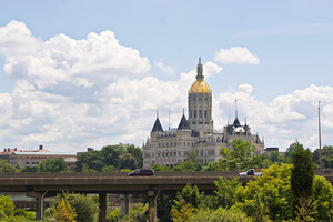 The golden-domed capitol building in Hartford, Connecticut.