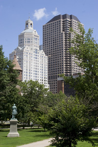 The Harford Connecticut city skyline as seen from Bushnell Park.