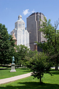 The Hartford Connecticut city skyline as seen from Bushnell Park.