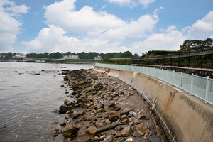 The historic cliff walk path located in Newport Rhode Island USA.