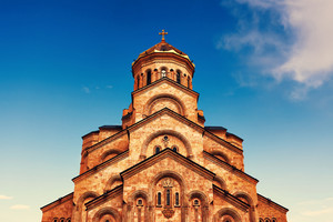 The Holy Trinity Cathedral Tsminda Sameba in Tbilisi at sunset