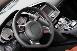 The interior of a modern luxury sports car