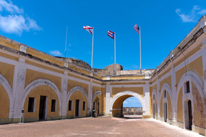 The interior of El Morro fort located in Old San Juan Puerto Rico.