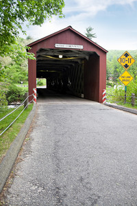 The old covered bridge found in West Cornwall Connecticut USA.