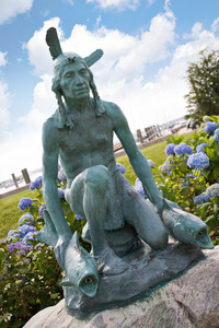 The old Indian Statue located in the center of historic Watch Hill Rhode Island.