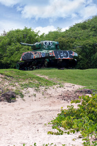 The old rusted and deserted US army tank of Flamenco beach on the Puerto Rican island of Culebra.