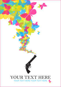 The Revolver Shoots Butterflies. Abstract Vector Illustration.