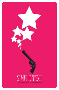 The Revolver Shoots Stars. Abstract Vector Illustration.