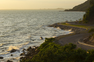 The road side sea on sunset at Chanthaburi. Thailand