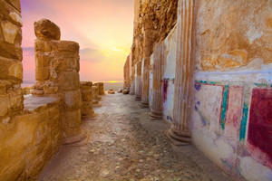 The ruins of the palace of King Herod's Masada at sunset. Israel.