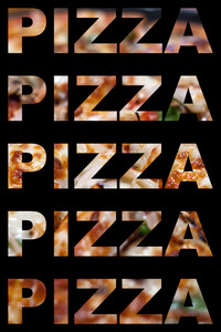 The word pizza with actual pizza textures isolated over black.