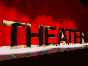 Theater Word On Stage Representing Broadway The West End And Acting