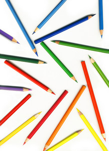 Thick Colored Pencils On White Background Isolated
