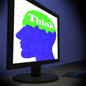 Think On Brain On Monitor Shows Human Solving