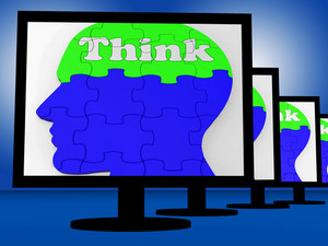 Think On Brain On Monitors Shows Human Solving