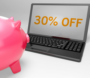 Thirty Percent Off On Notebook Showing Promotions