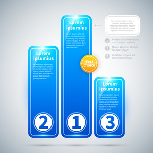 Three Blue Glossy Banners In The Form Of A Pedestal.