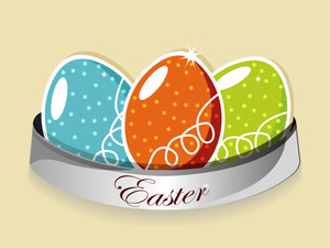 Three Elegant Eggs With A Tag. Vector Illustration.