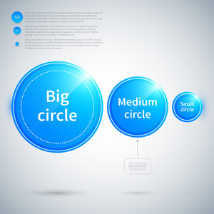 Three Glossy Circles Of Different Sizes.