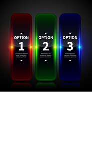 Three Glowing Vertical Banners With Numbers And Descriptions. Useful For Web Design