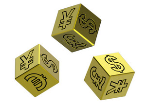 Three Gold Dices With Money Signs Isolated On White
