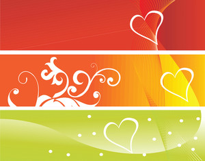 Three Heart Text Pannel On Colorful Pattern