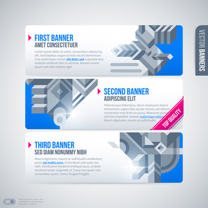 Three Horizontal Banners With Modern Design Elements. Eps10