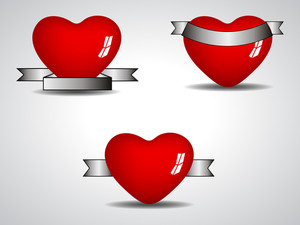 Three Isolated Heart Element With Diffrent Shape Of Ribbons. Vector Illustration. Eps 10