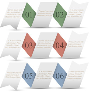 Three Origami Paper Numbered Banners
