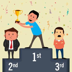 Three ranking winner businessmen standing on the winning podium holding up winning trophy.