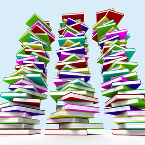 Three Stacks Of Books Representing Learning And Education