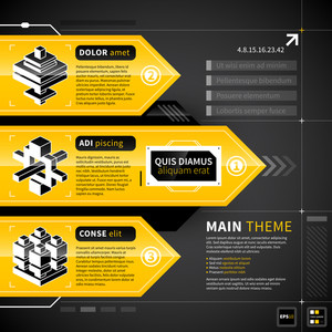 Three Techno Banners With Text And Isometric Icons.