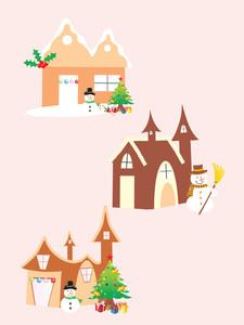 Three Vector Christmas Church Icon